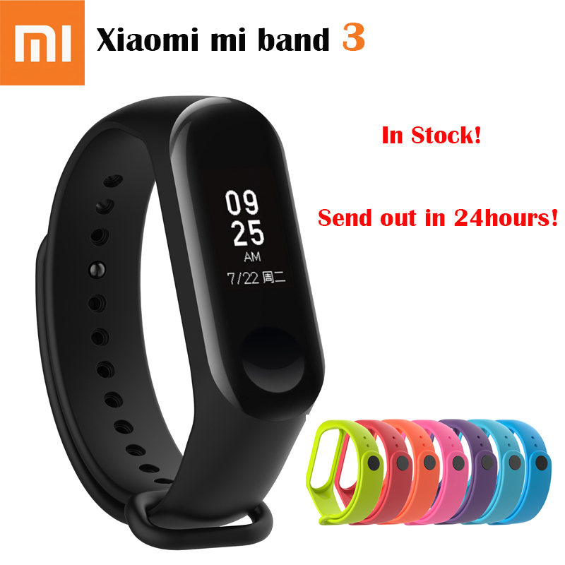 In stock! 2018 New Original Xiaomi Mi Band 3 Smart Bracelet ,0 78 inch OLED  Caller ID Weather Forecate Heart Rate Miband 3 Watch